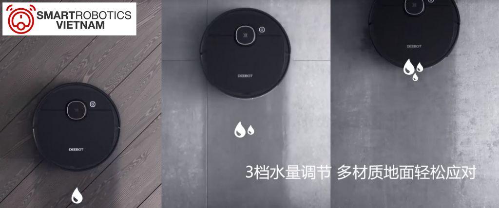 3 mức nước tùy chọn cho robot Ecovacs T5 Hero khả năng lau mọi loại mặt sàn