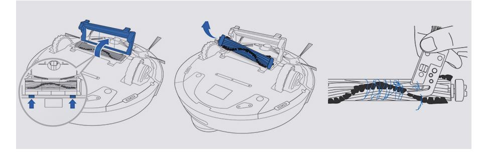 Hướng dẫn tháo lắp chổi chính (theo chiều mũi tên) và cắt tóc rối cuốn vào chổi