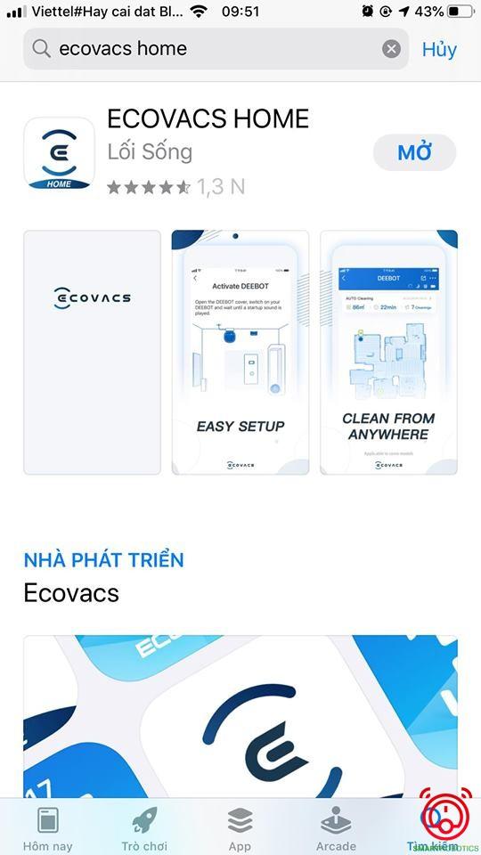 Vào chợ ứng dụng để tải app Ecovacs Home