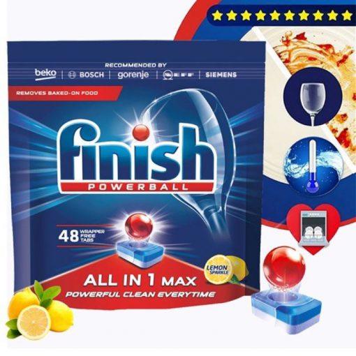 Viên rửa chén Finish All In 1 Max 48 viên hương chanh