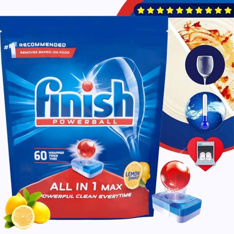 Viên rửa chén Finish All In 1 Max 60 viên hương chanh