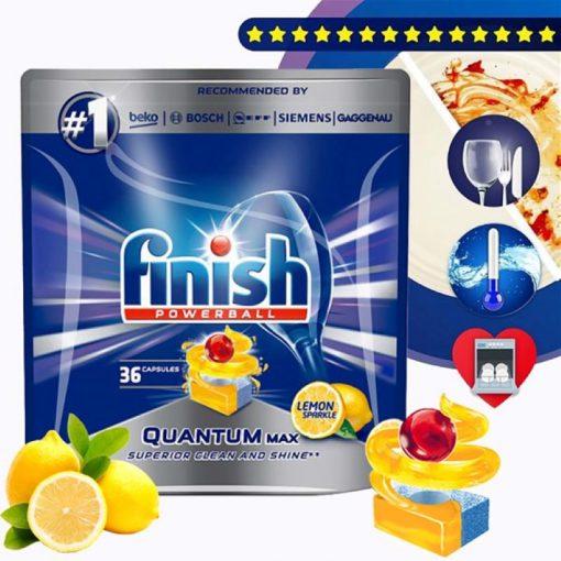 Viên rửa chén Finish Quantum Max 36 viên hương chanh 3