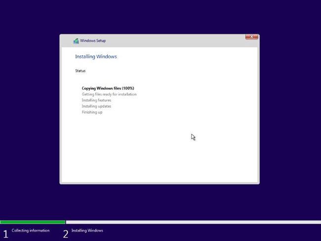 Quá trình cài đặt Windows 10 sẽ diễn ra hoàn toàn tự động