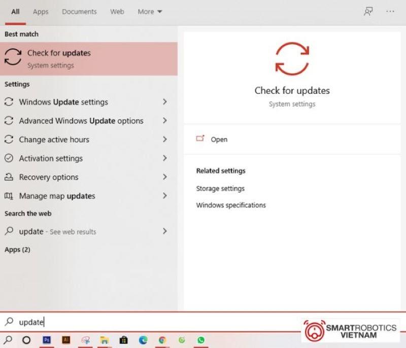 Tìm đến mục Check for updates trong thanh tìm kiếm của hệ thống
