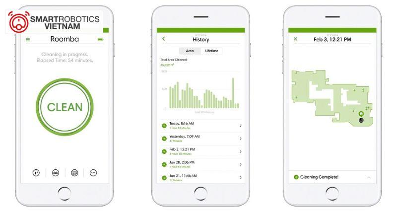 Ứng dụng iRobot Home giúp người dùng sử dụng sản phẩm nhanh chóng và tiện lợi