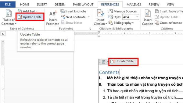 Chọn Update Table và chọn tùy chọn cập nhật phù hợp với văn bản